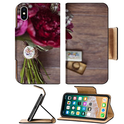 Id Rose Brooch (Luxlady Premium Apple iPhone X Flip Pu Leather Wallet Case IMAGE ID: 25911546 Wedding bouquets of red and pink roses and propionic and retro brooch)
