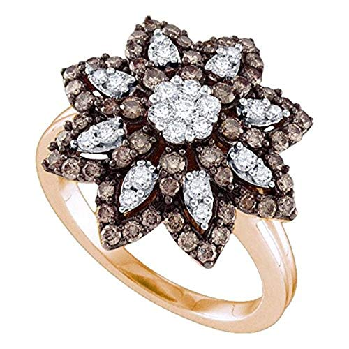 (Roy Rose Jewelry 10K Rose Gold Womens Round Cognac-brown Color Enhanced Diamond Flower Cluster Ring 1-Carat tw)