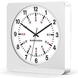 MARATHON CL030057WH-WH1 Large 12-Inch Analog Wall Clock with Auto-Night Light & Silent Sweep