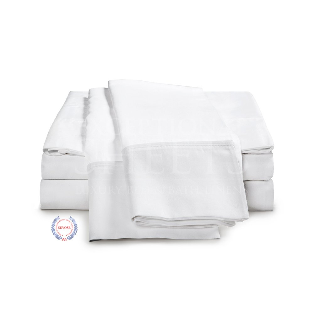 100% Egyptian Cotton Sheet Set - 1000 Thread Count | Hotel Luxury Single Ply - Sateen Weave | Set Includes One Flat Sheet, One Fitted Sheet & Two Pillowcases, Queen, White