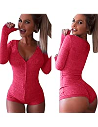 Moxeay Women V-neck Long Sleeve Shorts Knitted Bodysuit...
