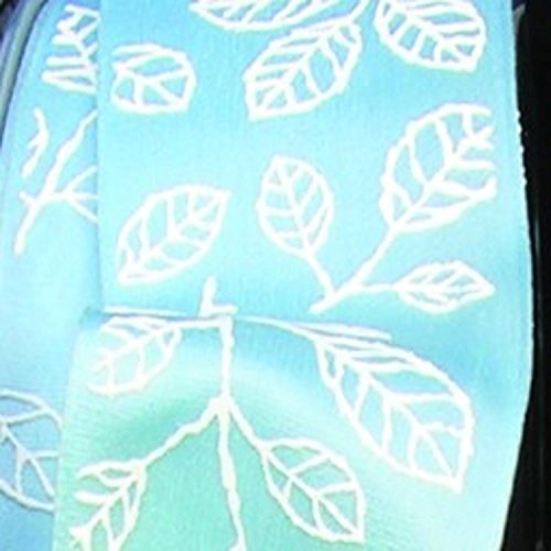 Light Blue Taffeta with White Leaf Print Wired Craft Ribbon 1.5