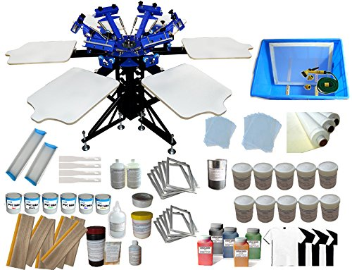 6-6 Color Screen Printing Kit with Materials 6 Color 6 Station Silk Screen printing Machine by Screen Printing Kit
