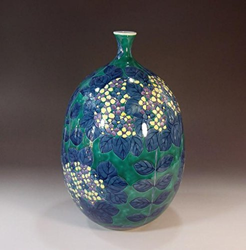 有田焼色鍋島様式の陶器花瓶あじさい絵|贈答品|ギフト|記念品|贈り物|陶芸家 藤井錦彩 B00M1DRAVQ