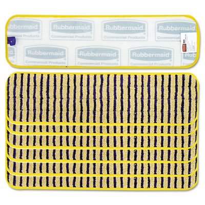 Rubbermaid Commercial Microfiber Scrubber Pad, Vertical Polyprolene Stripes, 18, 6/Carton, YEL by Rubbermaid Commercial