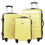 Merax Travelhouse Luggage 3 Piece Expandable Spinner Set (Yellow)