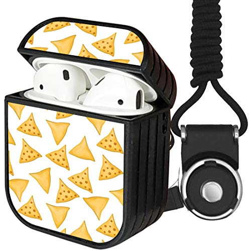 [ Compatible with Apple Airpods 1 / Airpods 2 Charging Case ] Portable Protection Hard Case Cover Shell + Neck Lanyard Strap (Tortilla Chips)