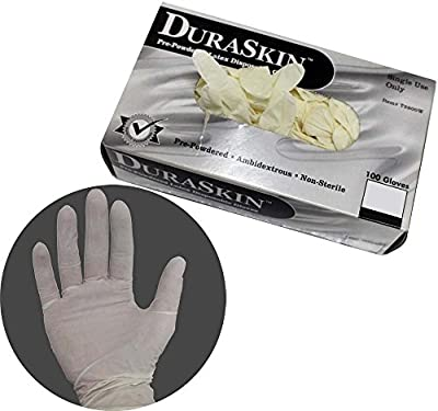 Disposable Latex Exam Gloves: 100 Pc Per Box- Size Medium
