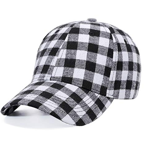 Plaid Print Baseball Cap Soft Cotton Blend Checked Print Outdoor Hat Cap, Black White