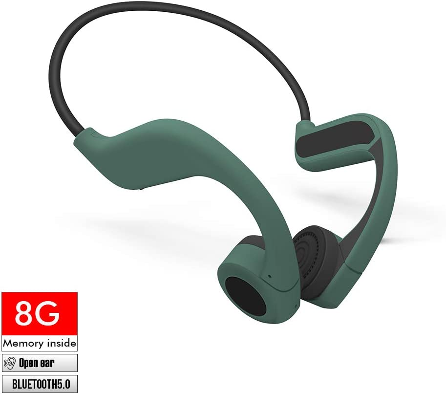 LEAGLEE 8G MP3 Player Bone Conduction Bluetooth Headphones, Wireless Open Ear Stereo Headset for Running, Cycling, and Sports, Titanium Lightweight Design 33g, IP55 Waterproof with Mic (Jungle Green)