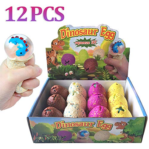 ZGWJ 12 Pack Dinosaur Eggs Stress Balls,Squeeze Ball Toys Home and Office Use Stress Relief Toys for Kids