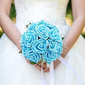Noex Direct 30 PCS Artificial Flowr Rose Real Touch Artificial Roses for DIY Bouquets Wedding Party Baby Shower Home Decor - Blue 5
