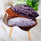 Leighhome 100% Polyester Printed Table Cloth- Lavender spa with sea Salt and Dried Lavender Ideal for Home, Restaurants, Cafés 47.5'' Round