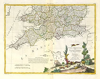 Map Of England Vintage.Amazon Com Parte Meridionale Dell Inghilterra Southern