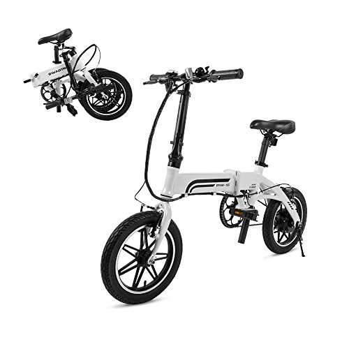 Swagtron Swagcycle EB-5 Lightweight & Aluminum Folding Ebike with Pedals, White, 58cm/Medium