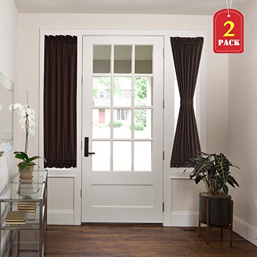 H.VERSAILTEX French Door Blackout Curtain Panels Thermal Insulated 72 inches Length Door Curtain, Brown Curtains for French Doors, Tieback Included, 2 Panels