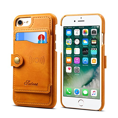 (Wallet Cover Case for iPhone 7 8 6 4.7 inches Apple,Khaki Leather ID Credit Card Slot Slim Shell)