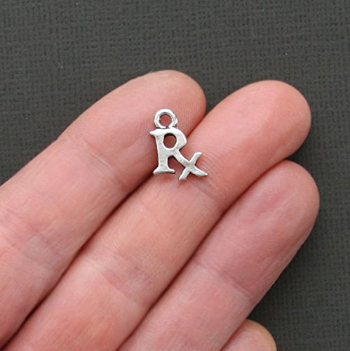 8 RX Charms Antique Silver Tone Medical or Pharmacist Charm - SC1791 Jewelry Making Supply Pendant Bracelet DIY Crafting by Wholesale Charms ()