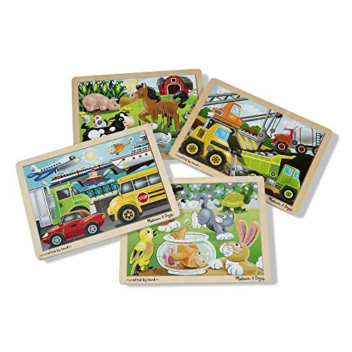 Melissa & Doug Wooden Jigsaw Puzzles Set: Vehicles, Pets, Construction, and Farm (4 puzzles) (12 Piece Wooden Puzzle)