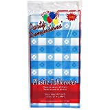 Party Dimensions Single Count Rectangular Plastic Tablecover, 54 by 108-Inch, Blue Gingham