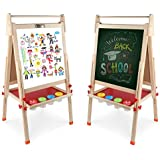 DLone Wooden Kids Easel ,Art Easel with wooden paper roll holder Double-Sided Whiteboard & Chalkboard Standing Easel Magnetic