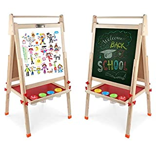 DLone Wooden Kids Easel ,Art Easel with Paper Roll Double-Sided Whiteboard & Chalkboard Standing Easel with Bonus Magnetics, Numbers and Other Accessories for Kids,Tollders, Boys and Girls (49inch)
