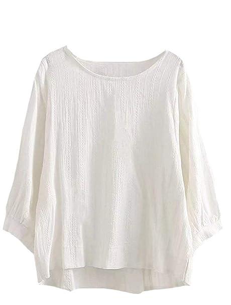 Camisa De Manga Larga Mujer Fashion Anchas Primavera Otoño Basicas Camisetas Túnica Manga Largo Cuello Redondo Unicolor Elegantes Camisas Lino Fiesta ...
