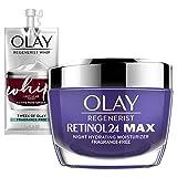 Olay Regenerist Retinol 24 Max Moisturizer, Retinol 24 Max Night Face Cream, 1.7 Oz + Whip Face Moisturizer Travel/Trial Size Gift Set