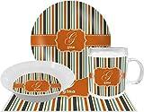 Orange & Blue Stripes Dinner Set - 4 Pc (Personalized)