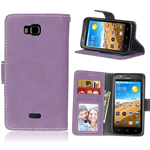 Cell Phone Covers Cases For Huawei Honor Bee Y541 case,Solid Color Premium PU Leather Wallet Case Flip Folio Protective Case Cover With Card Slot/Stand (Color : Purple)