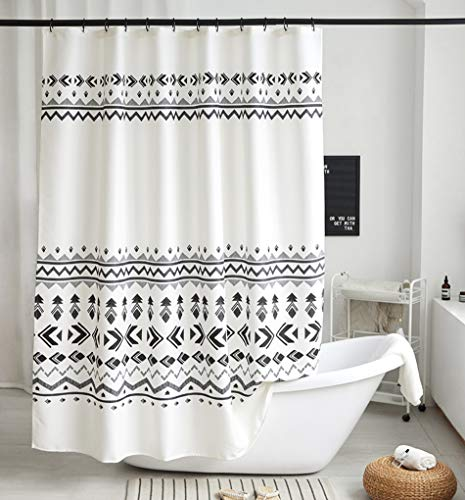 Uphome Fabric Shower Curtain Black and White Geometric Tribal Cloth Shower Curtain Set with Hooks Chic Boho Bathroom… - [Uphome Design] -This polyester shower curtains made of 100% fabric adds extra rust-resistant metal grommets and 12 high-quality plastic hooks Without the ROD, features with geometric pattern, which can blend with any existing home decor. [Function] Waterproof and heavy-duty, can be used as shower curtain alone, when you take shower the curtain which can prevent it from fluttering, splashing. [Care Instructions] Machine washable in cold water with mild detergent and hang to dry. It could be better cleaned with a quick rinse or wipe after a shower, Low iron; Don't bleach or tumble dry. The Color will stay nice and vibrant for years. - shower-curtains, bathroom-linens, bathroom - 51YaFOqmjZL -