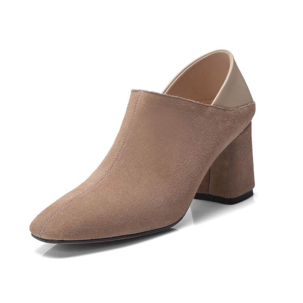 Xiaolin Zipper Damenschuhe Comfort Ankle Stiefelie Side V - Niedrige Chunky - Absatzstiefel mit Martinstiefel (Farbe   A größe   US8 EU39 UK6 CN39)