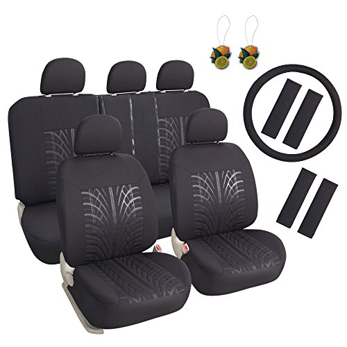Seat Black Cloth (Leader Accessories 17 pcs Poly Cloth Black Auto Car Seat Cover Set Combo Pack - Airbag Compatible - Front Low Back Buckets - 50/50 or 60/40 Rear Split Bench)