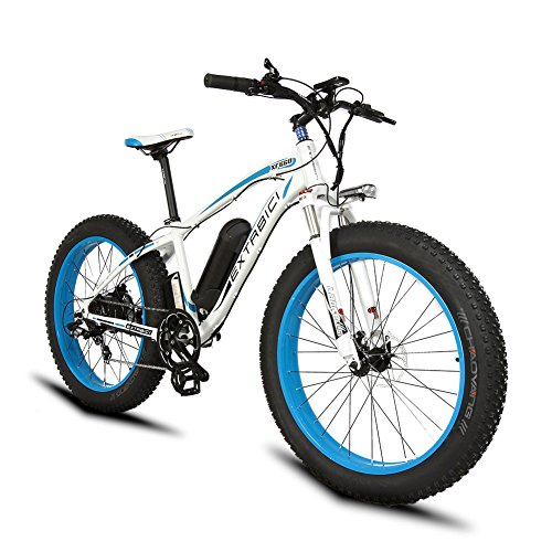 Extrbici Electric Bike Cruiser Bicycle XF660 1000W Motor 48V 16AH Panasonic Battery eBike for Adults Mens 4.0 x 26 Inch Fat Tire Hydraulic Brake Shimano 7 Speeds Pedal Assist LCD Display(white blue)