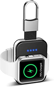 Portable Wireless Charger for Apple Watch, Pocket-Sized iWatch Charger with Built in 950mAh 4 LED Indicating MFI Certified for All Apple Watch Series 1 2 3 4 5 44mm 40mm 42mm 38mm (Black)