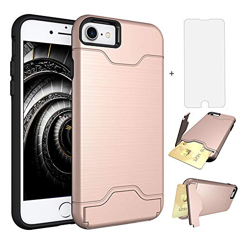 (iPhone 7 8 7s 8s Case i Phone Cases Wallet with Tempered Glass Screen Protector Credit Card Holder Slot Stand Hybrid Protective Cover for Apple iPhone7 iPhone8 Seven 4.7 inch Women Girls Rose Gold)