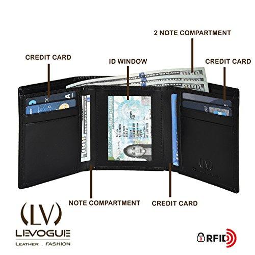 VALENTINES-DAY-GIFT-LEVOGUE-Handmade-Mens-Rfid-Blocking-Genuine-Leather-Trifold-Multi-Card-ID-Window-Wallet