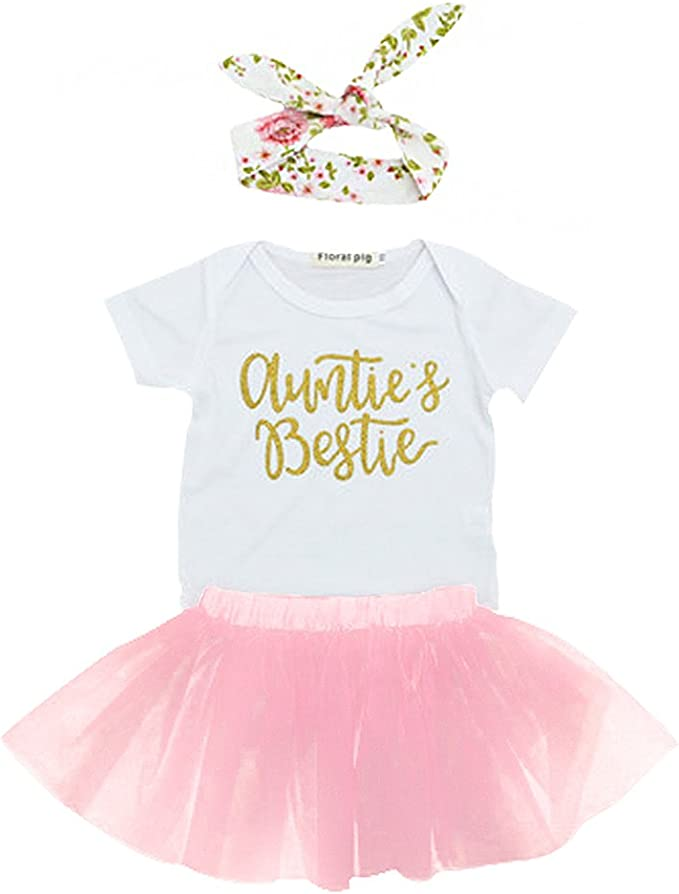 Rainbow Light Baby Aunties Bestie Romper Headband Tutu Skirt 3Pcs Romper Clothes