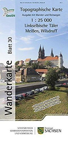 Linkselbische Täler/Meißen, Wilsdruff: Wanderkarte 1:25 000, Ausgabe mit Wander- und Reitwegen (WK25 Blatt 30) (Topographische Freizeitkarten Sachsen 1:25 000)