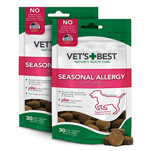 Vet's Best Seasonal Allergy Soft Chew Dog Supplements | Soothes Dogs Skin Irritation Due to Seasonal Allergies | Maintain Histamine Levels | 50 Chewable Tablets (2 Pack)