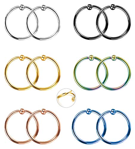 FIBO STEEL 12 Pcs 22G Stianless Stee Nose Hoop Ring for Men Women Lip Eyebrow Tongue Helix Tragus Cartilage Septum Piercing Jewelry 10mm