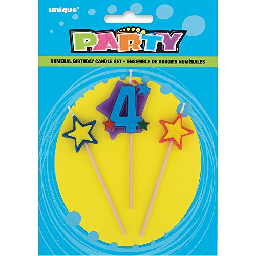 Stars & Number 4 Birthday Candle Set, 3pc
