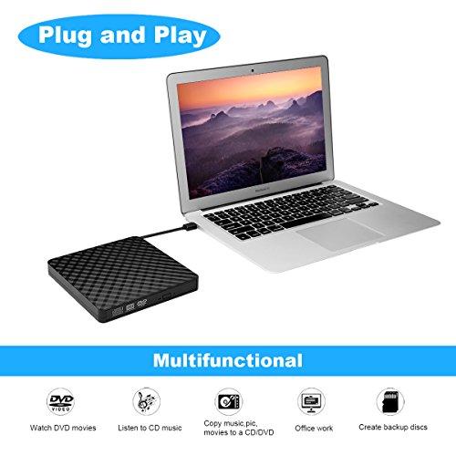 External CD Drive, BEVA Portable Slim USB 3.0 DVD CD Player Burner RW Writer, Copier, Reader for Laptop, Notebook, Desktop, Mac, Support Windows 7/8/ 10/ XP/Mac OS by BEVA (Image #1)