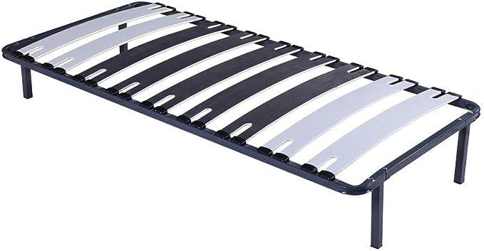King of Dreams Patrick – Sólido y cómodo somier con marco de láminas + patas de metal 70 x 190 x 29 cm – 9 láminas grandes de 12,5 cm – Montaje rápido ...