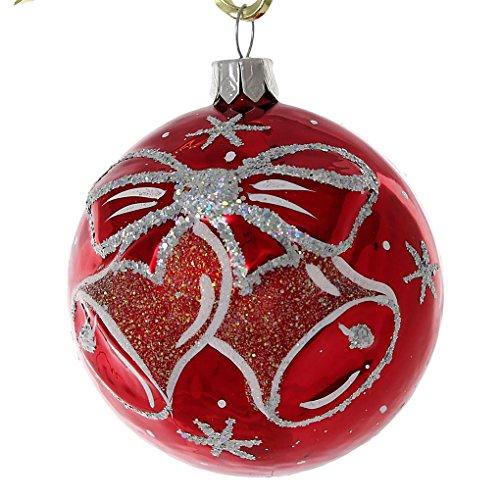 (HolidayGiftShops Jingle Bells Glass Christmas Ball Ornament (Red). )