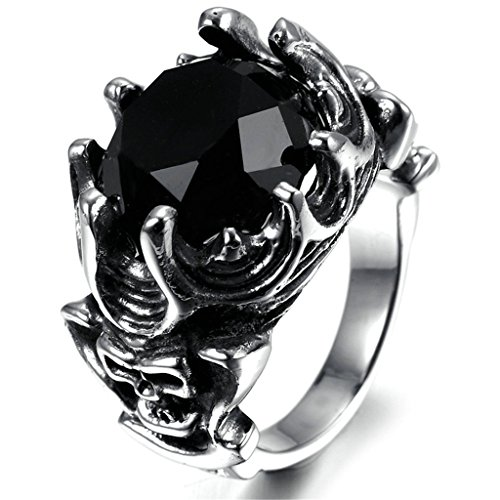 Stainless Steel Ring for Men, Round Ring Gothic Black Band Silver Band 2020MM Size 11 Epinki