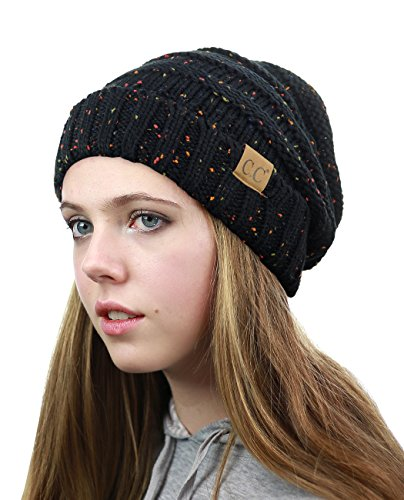 NYFASHION101 Oversized Baggy Slouchy Thick Winter Beanie Hat, Confetti Black