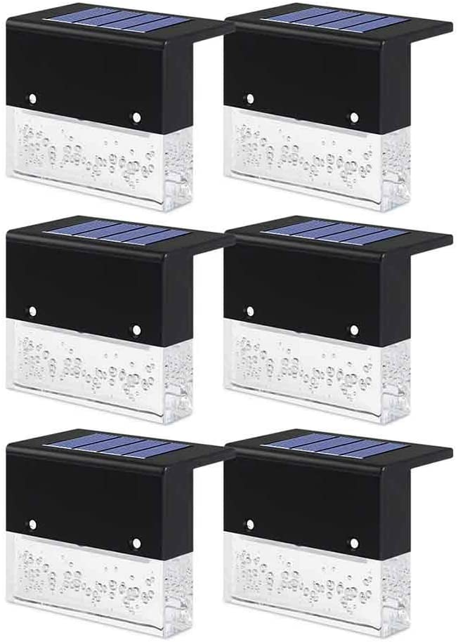 6 pcs LED Solar Deck Lights, IP55 Waterproof Outdoor Lighting Backyard Decor Outside Step Lights for Garden/Stairs/Railing/Fences, Warm White+RGB Color Changing Lighting