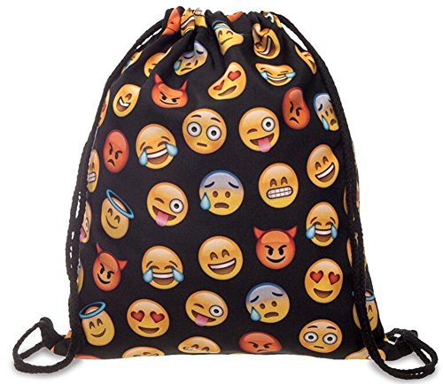 Gym Sack Bag Emoji Backpacks Soft Polyester Drawstring Bags for Girls and Teens (Black yellow)