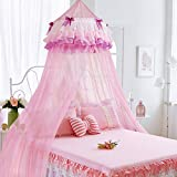 Pink dome hanging princess children's mosquito net, Girl Single Double bed canopy mosquito curtain-pink Full-size